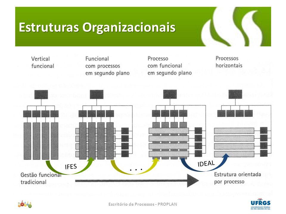 Primeiro: perceber a cadeia de valor do negócio Escritório de Processos – Uma Iniciativa PROPLAN/PROGESP/CPD FLUXO DE INFORMAÇÃO Operação Compras P&D Finanças Logística Marketing Sistemas de Informação Fornecedor Cliente Sistemas de Informação