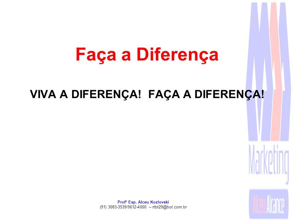 Profº Esp. Alceu Kozlovski (91) 3083-3539/9612-4000 – rtbt29@bol.com.br Faça a Diferença VIVA A DIFERENÇA! FAÇA A DIFERENÇA!