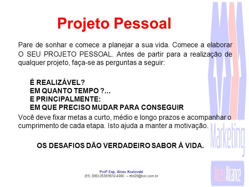 Profº Esp. Alceu Kozlovski (91) 3083-3539/9612-4000 – rtbt29@bol.com.br Projeto Pessoal Pare de sonhar e comece a planejar a sua vida. Comece a elabor