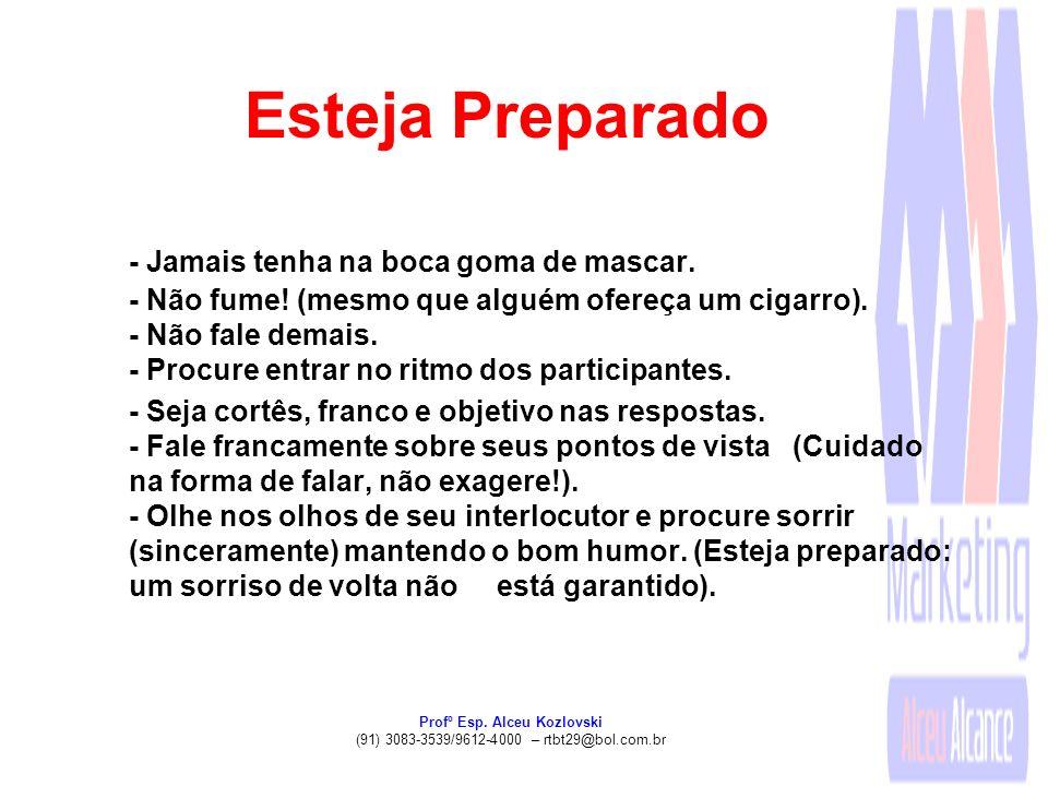 Profº Esp. Alceu Kozlovski (91) 3083-3539/9612-4000 – rtbt29@bol.com.br Esteja Preparado - Jamais tenha na boca goma de mascar. - Não fume! (mesmo que