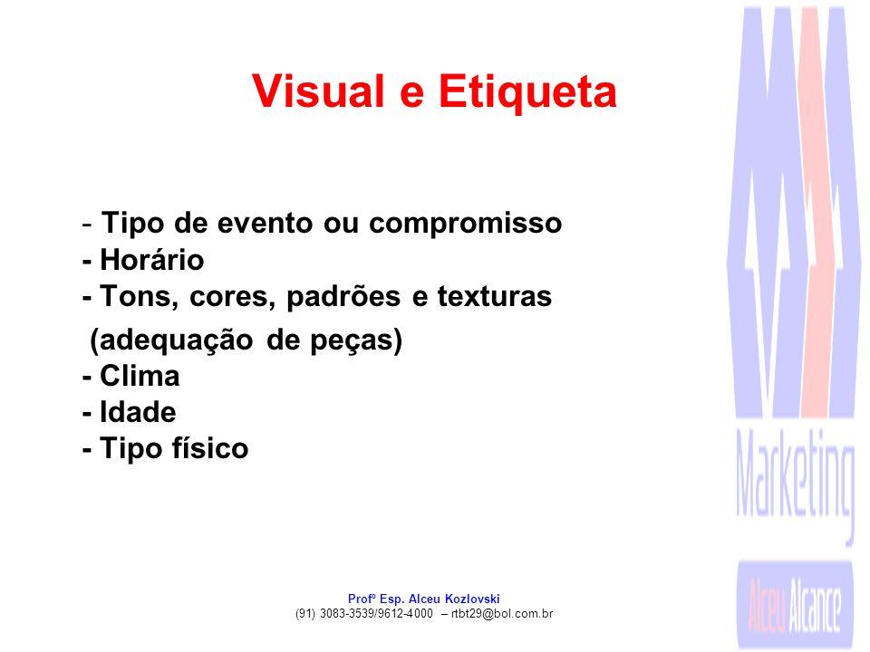 Profº Esp. Alceu Kozlovski (91) 3083-3539/9612-4000 – rtbt29@bol.com.br Visual e Etiqueta - Tipo de evento ou compromisso - Horário - Tons, cores, pad