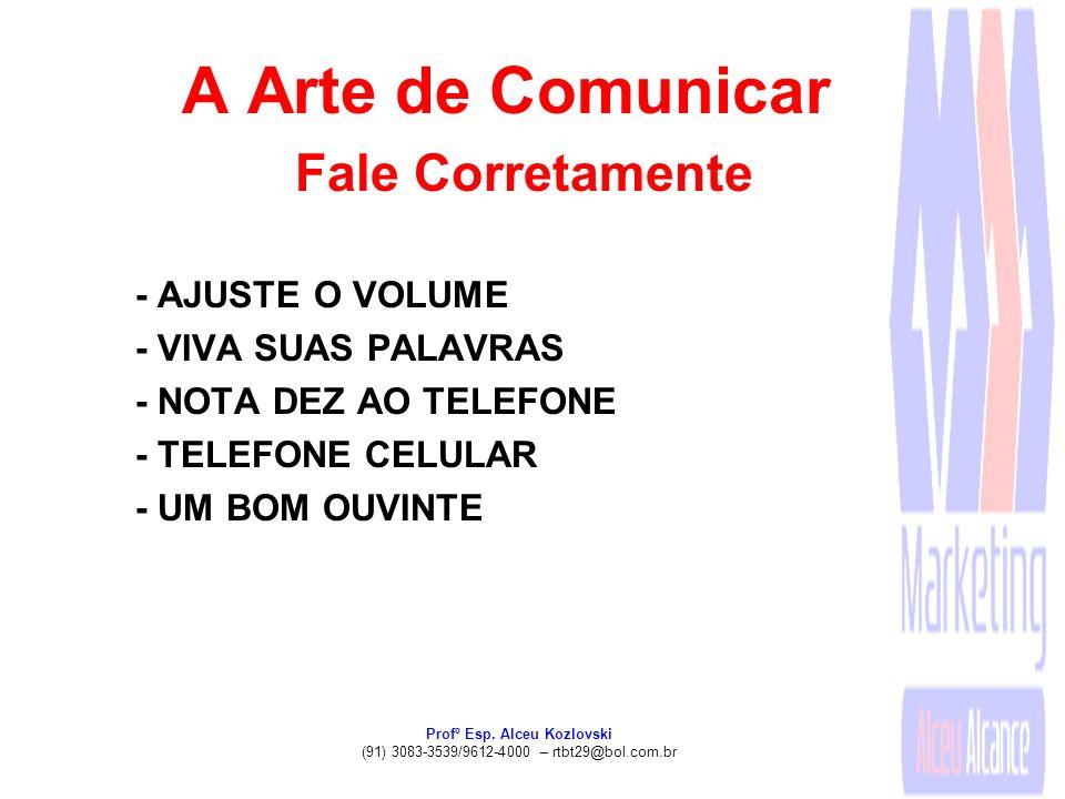Profº Esp. Alceu Kozlovski (91) 3083-3539/9612-4000 – rtbt29@bol.com.br A Arte de Comunicar Fale Corretamente - AJUSTE O VOLUME - VIVA SUAS PALAVRAS -