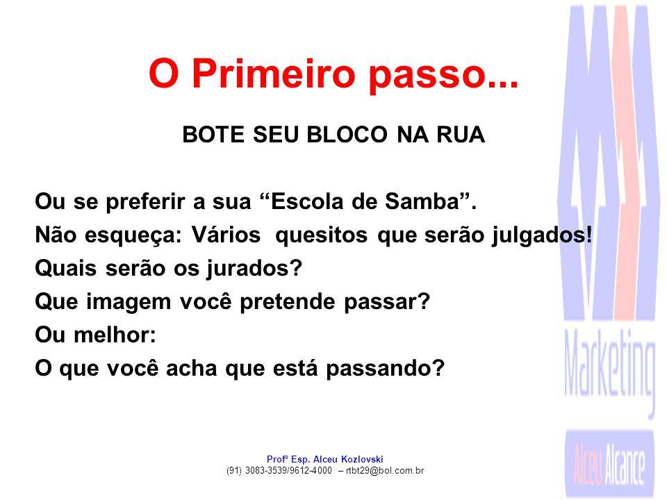 Profº Esp. Alceu Kozlovski (91) 3083-3539/9612-4000 – rtbt29@bol.com.br O Primeiro passo... BOTE SEU BLOCO NA RUA Ou se preferir a sua Escola de Samba