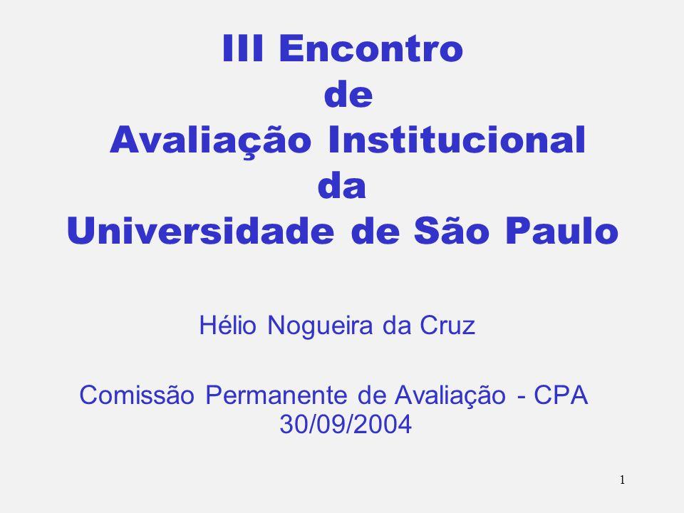 1 III Encontro de Avaliação Institucional da Universidade de São Paulo Hélio Nogueira da Cruz Comissão Permanente de Avaliação - CPA 30/09/2004