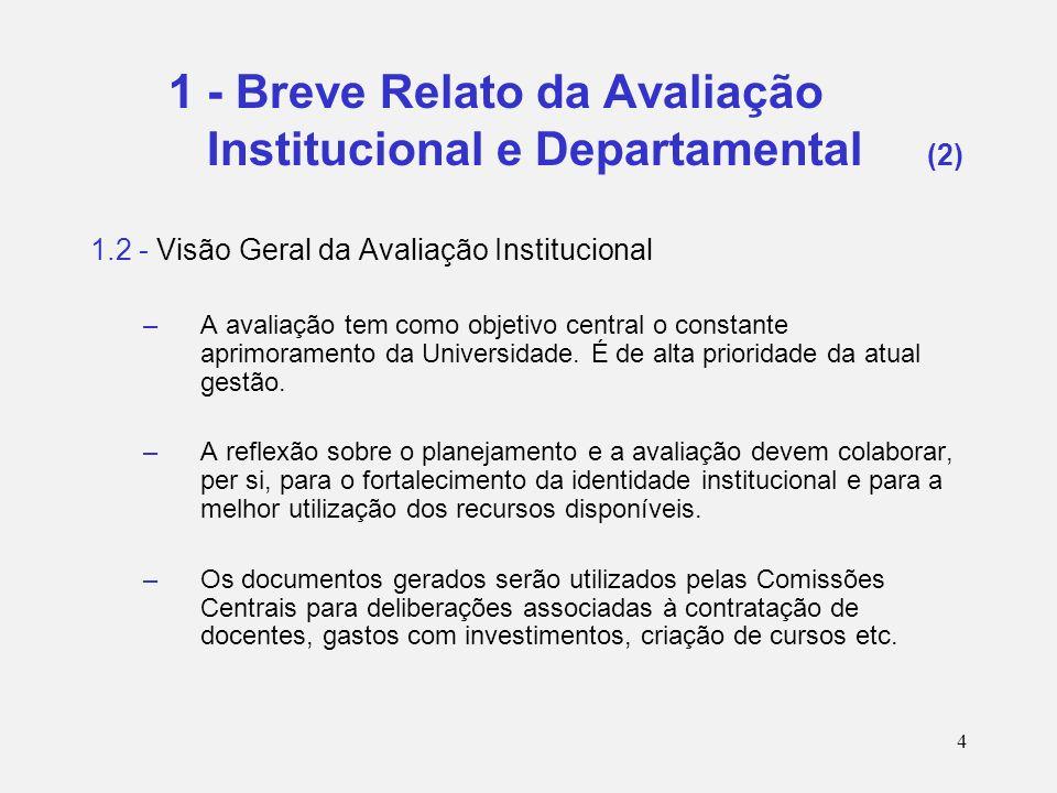 4 1 - Breve Relato da Avaliação Institucional e Departamental (2) 1.2 - Visão Geral da Avaliação Institucional –A avaliação tem como objetivo central o constante aprimoramento da Universidade.