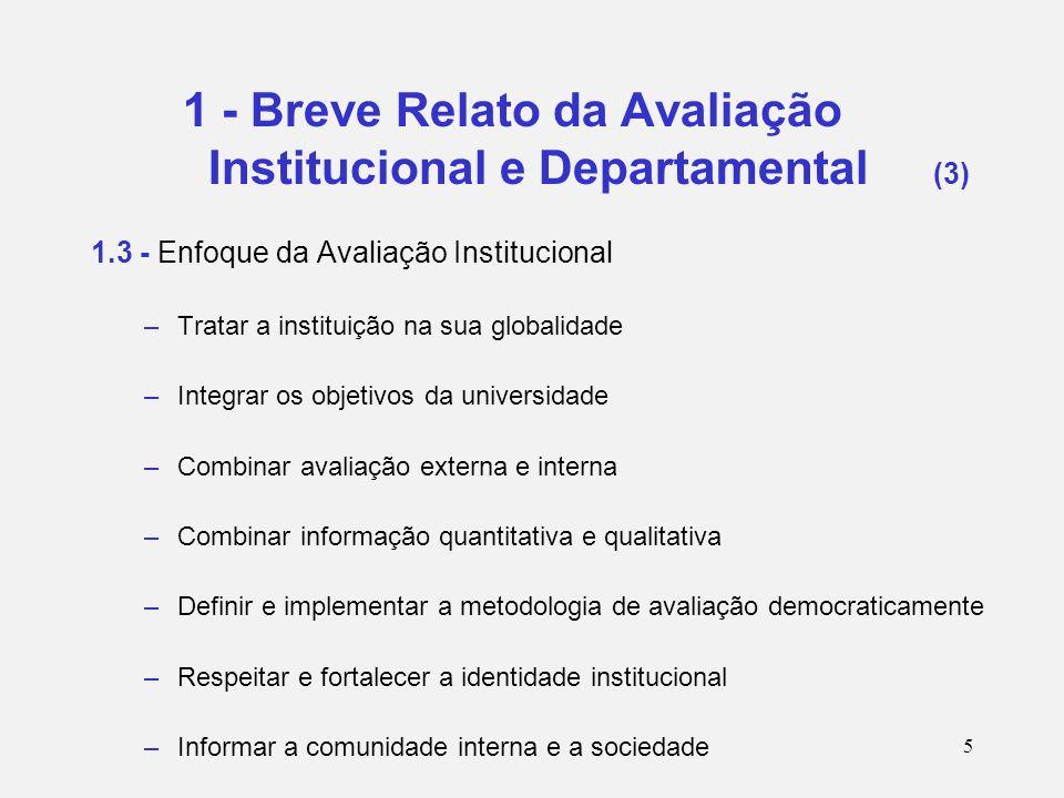 6 1 - Breve Relato da Avaliação Institucional e Departamental (4) 1.4 - 2º Ciclo de Avaliação Institucional : 2003-2005 Resolução do Conselho Estadual de Educação – CEE de Abril/2002 Relatórios CEE –Planejamento Geral de Avaliação Interna – Junho/2001 –Relatório Parcial de Avaliação Institucional – Junho/2003 –Relatório Final – Junho 2005 Avaliação de 36 Unidades de Ensino e Pesquisa/ 199 Departamentos/ 28 Órgão Centrais de Direção e Serviço sendo 12 com Avaliação Externa Apoio para elaboração do Planejamento Estratégico