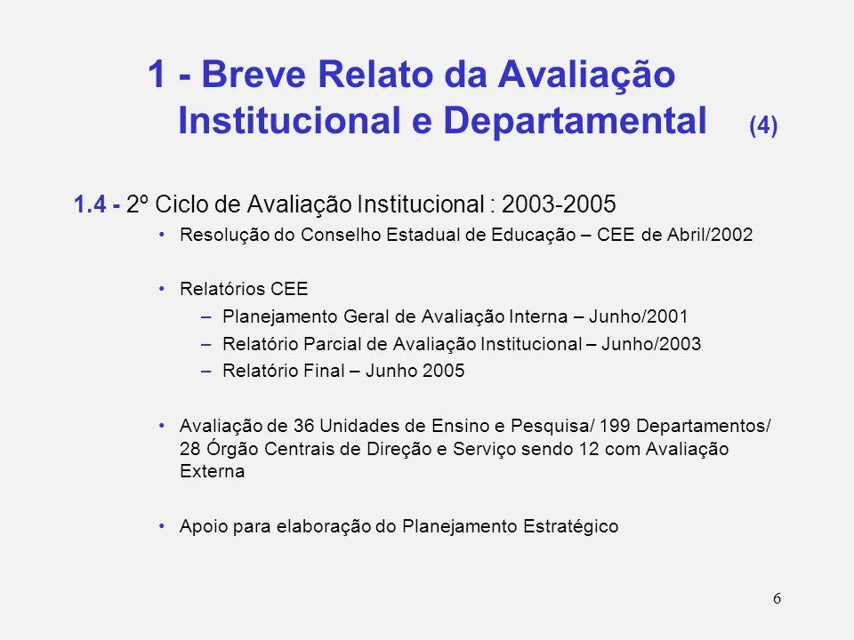 7 2 - Resultados Iniciais da Auto-Avaliação Apresentação das auto-avaliações pelos diretores por área e dos Órgãos Centrais de Direção e Serviço (Março e Maio/2004) Principais temas levantados (de Graduação, de Pós-Graduação, de Pesquisa, de Extensão, de Bibliotecas, de Informática e de Órgãos Centrais de Direção e Serviço) Reunião sobre temas priorizados: Internacionalização e Aprimoramento de práticas pedagógicas (Abril/2004) Reunião com responsáveis por Órgãos Centrais de Direção e Serviço (Maio/2004)