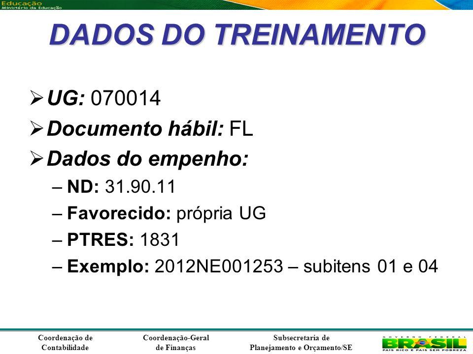 Coordenação de Contabilidade Coordenação-Geral de Finanças Subsecretaria de Planejamento e Orçamento/SE DADOS DO TREINAMENTO UG: 070014 Documento hábil: FL Dados do empenho: –ND: 31.90.11 –Favorecido: própria UG –PTRES: 1831 –Exemplo: 2012NE001253 – subitens 01 e 04