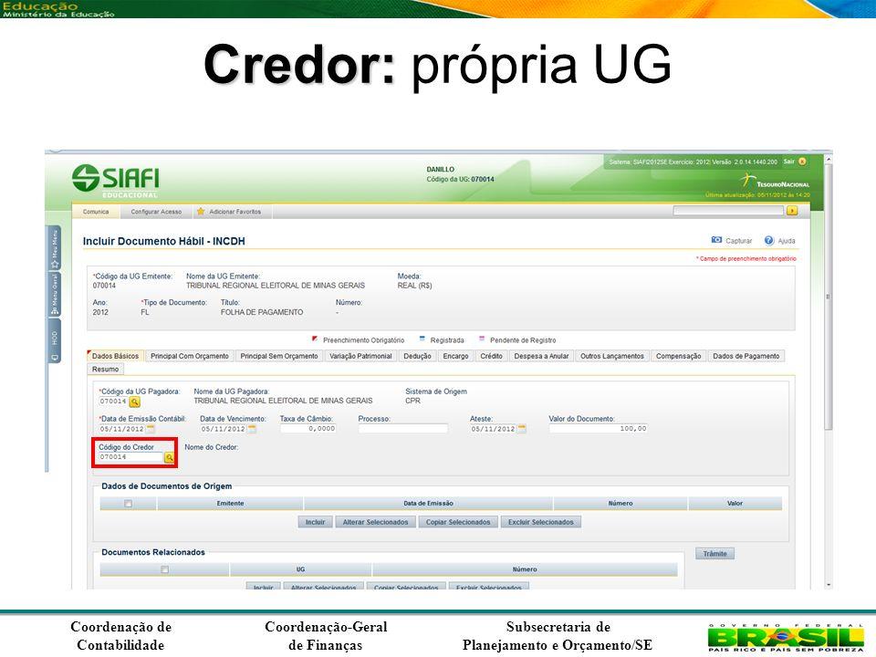 Coordenação de Contabilidade Coordenação-Geral de Finanças Subsecretaria de Planejamento e Orçamento/SE Credor: Credor: própria UG