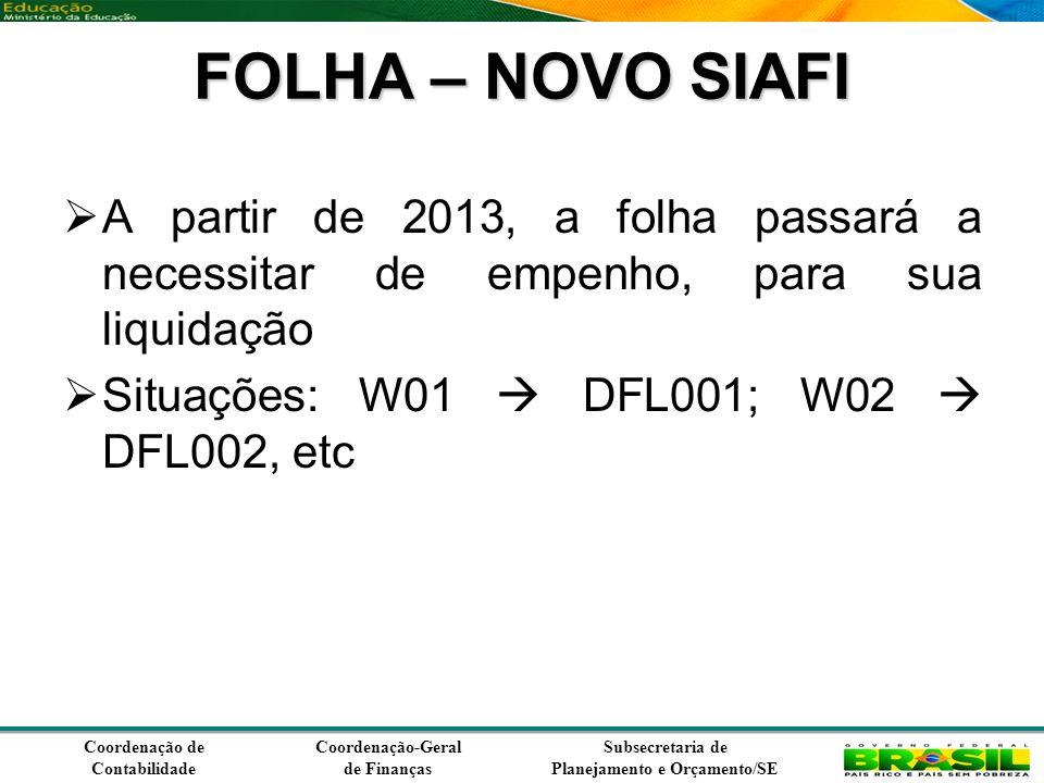 Coordenação de Contabilidade Coordenação-Geral de Finanças Subsecretaria de Planejamento e Orçamento/SE FOLHA – NOVO SIAFI A partir de 2013, a folha passará a necessitar de empenho, para sua liquidação Situações: W01 DFL001; W02 DFL002, etc