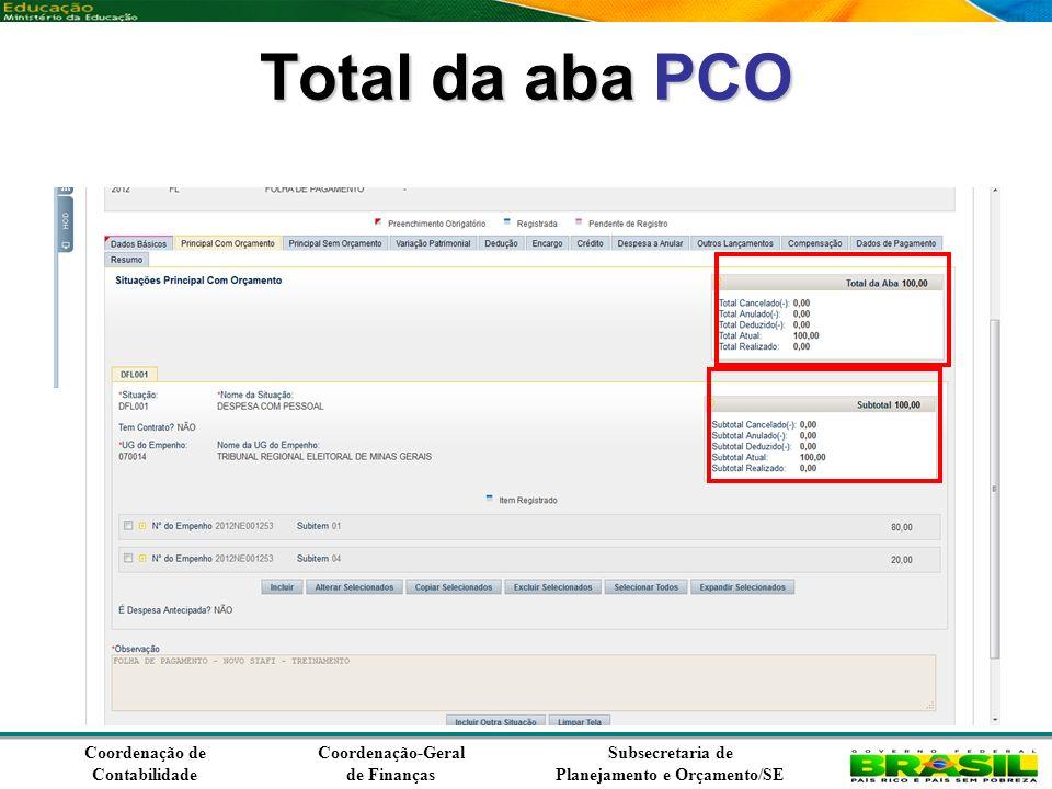 Coordenação de Contabilidade Coordenação-Geral de Finanças Subsecretaria de Planejamento e Orçamento/SE Total da aba PCO