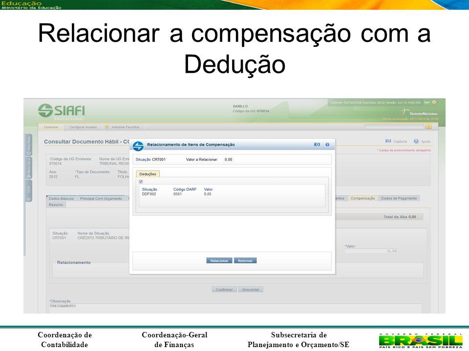 Coordenação de Contabilidade Coordenação-Geral de Finanças Subsecretaria de Planejamento e Orçamento/SE Relacionar a compensação com a Dedução
