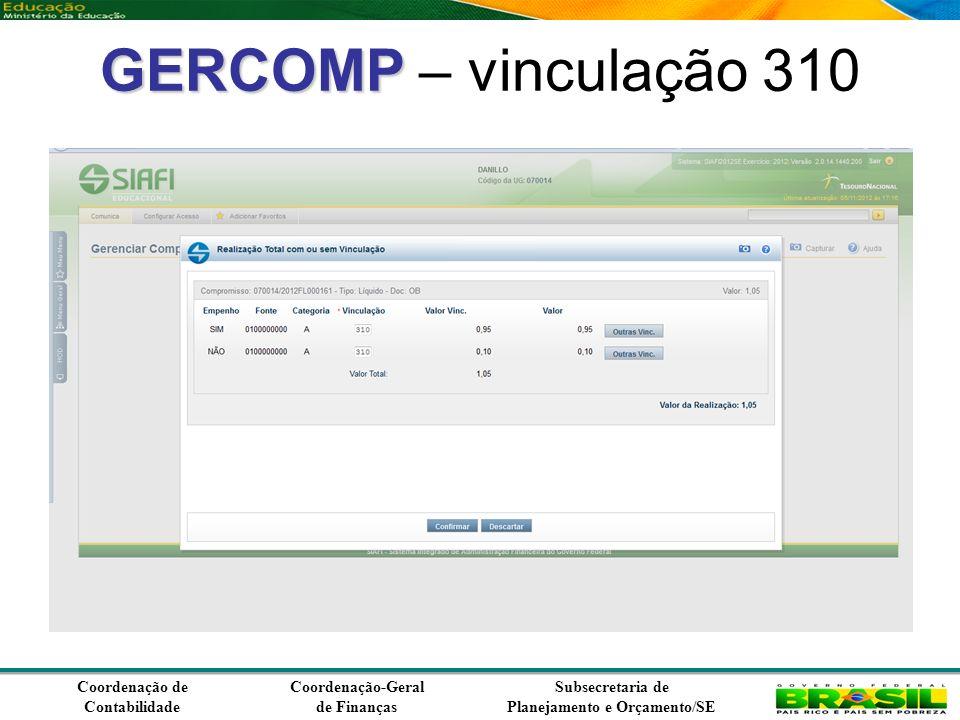 Coordenação de Contabilidade Coordenação-Geral de Finanças Subsecretaria de Planejamento e Orçamento/SE GERCOMP GERCOMP – vinculação 310