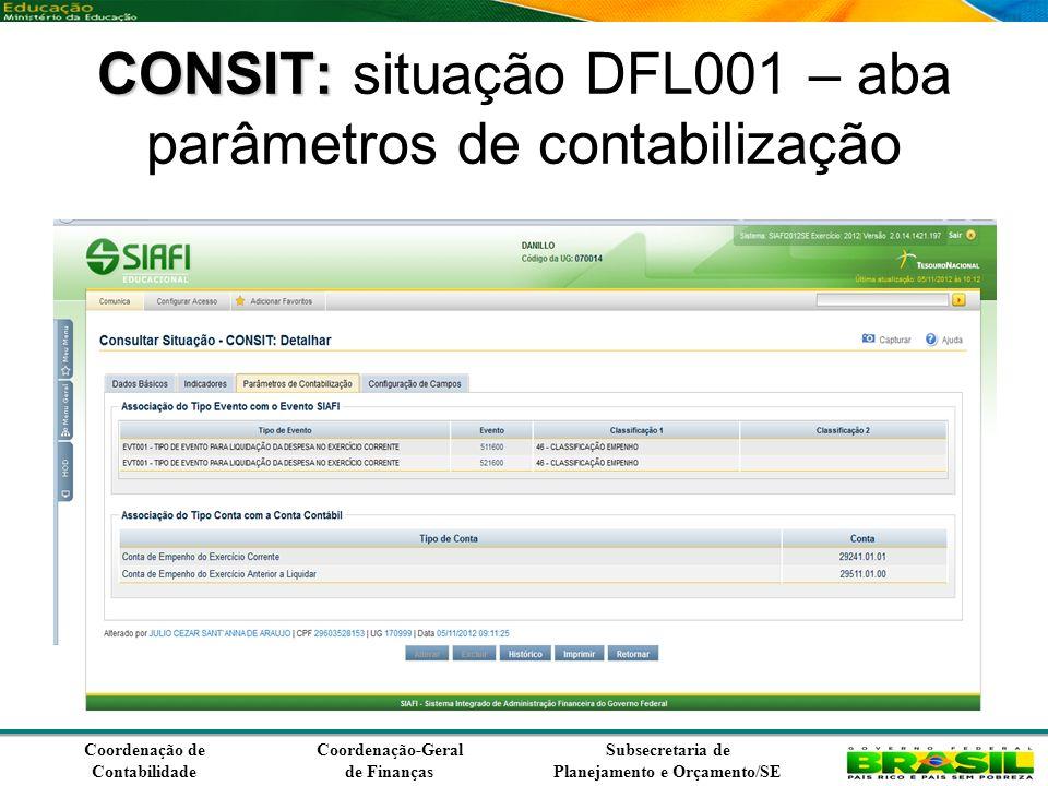 Coordenação de Contabilidade Coordenação-Geral de Finanças Subsecretaria de Planejamento e Orçamento/SE CONSIT: CONSIT: situação DFL001 – aba parâmetros de contabilização