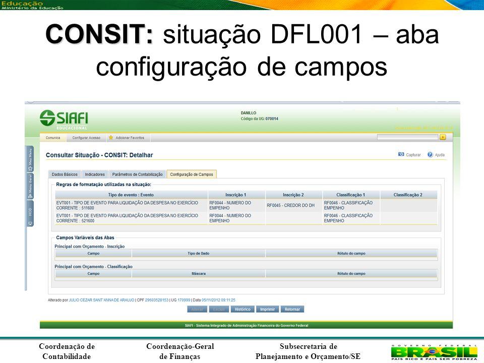 Coordenação de Contabilidade Coordenação-Geral de Finanças Subsecretaria de Planejamento e Orçamento/SE CONSIT: CONSIT: situação DFL001 – aba configuração de campos