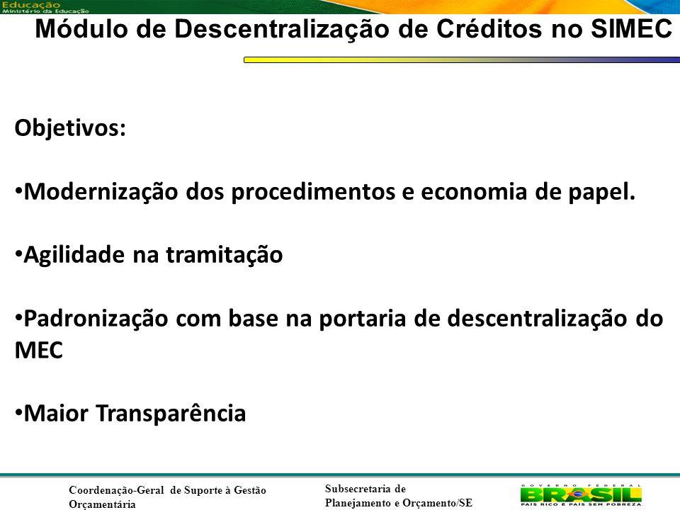 Coordenação de Contabilidade Coordenação-Geral de Finanças Subsecretaria de Planejamento e Orçamento/SE Módulo de Descentralização de Créditos no SIMEC Objetivos: Modernização dos procedimentos e economia de papel.