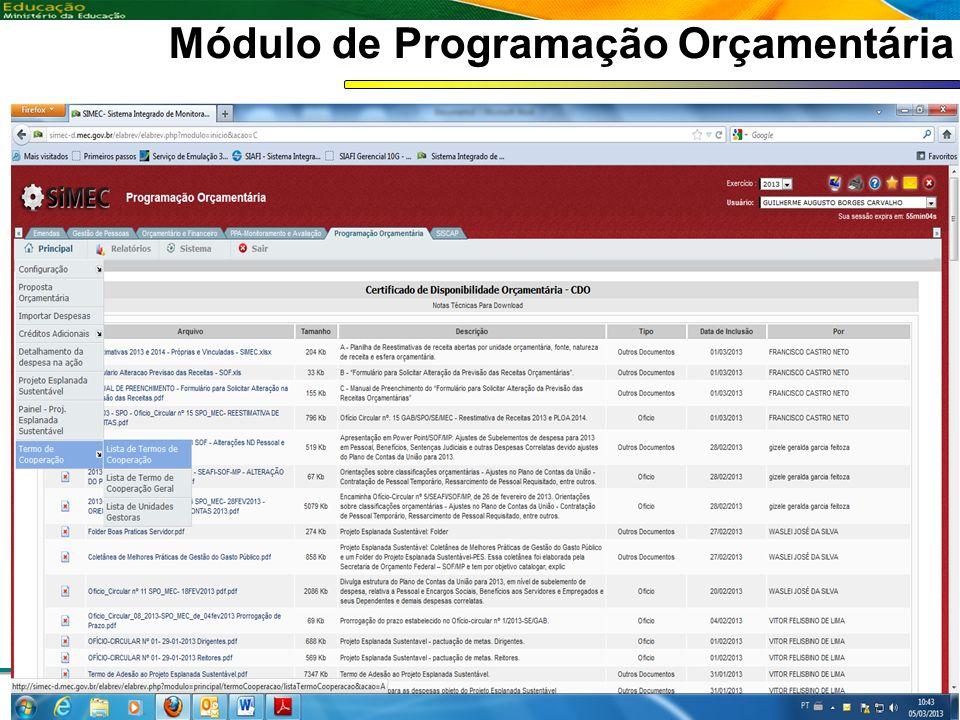 Coordenação de Contabilidade Coordenação-Geral de Finanças Subsecretaria de Planejamento e Orçamento/SE Módulo de Programação Orçamentária