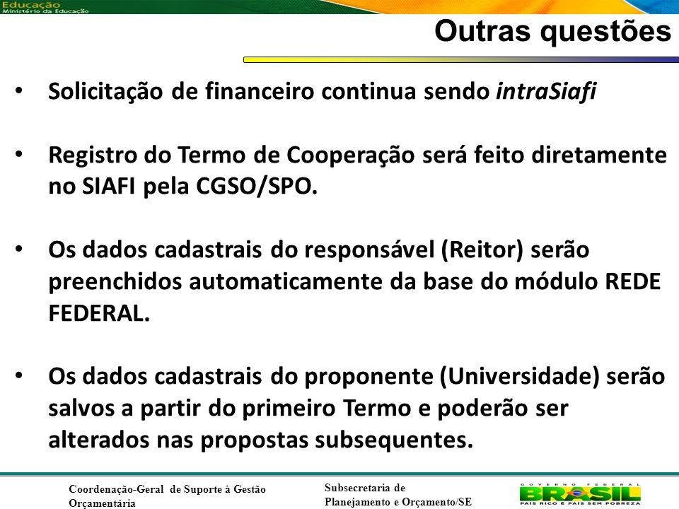 Coordenação de Contabilidade Coordenação-Geral de Finanças Subsecretaria de Planejamento e Orçamento/SE Outras questões Solicitação de financeiro continua sendo intraSiafi Registro do Termo de Cooperação será feito diretamente no SIAFI pela CGSO/SPO.