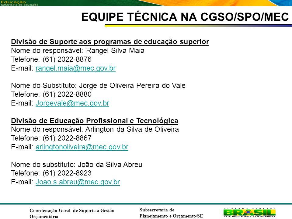 Coordenação de Contabilidade Coordenação-Geral de Finanças Subsecretaria de Planejamento e Orçamento/SE EQUIPE TÉCNICA NA CGSO/SPO/MEC Divisão de Suporte aos programas de educação superior Nome do responsável: Rangel Silva Maia Telefone: (61) 2022-8876 E-mail: rangel.maia@mec.gov.brrangel.maia@mec.gov.br Nome do Substituto: Jorge de Oliveira Pereira do Vale Telefone: (61) 2022-8880 E-mail: Jorgevale@mec.gov.brJorgevale@mec.gov.br Divisão de Educação Profissional e Tecnológica Nome do responsável: Arlington da Silva de Oliveira Telefone: (61) 2022-8867 E-mail: arlingtonoliveira@mec.gov.brarlingtonoliveira@mec.gov.br Nome do substituto: João da Silva Abreu Telefone: (61) 2022-8923 E-mail: Joao.s.abreu@mec.gov.brJoao.s.abreu@mec.gov.br Coordenação-Geral de Suporte à Gestão Orçamentária Subsecretaria de Planejamento e Orçamento/SE