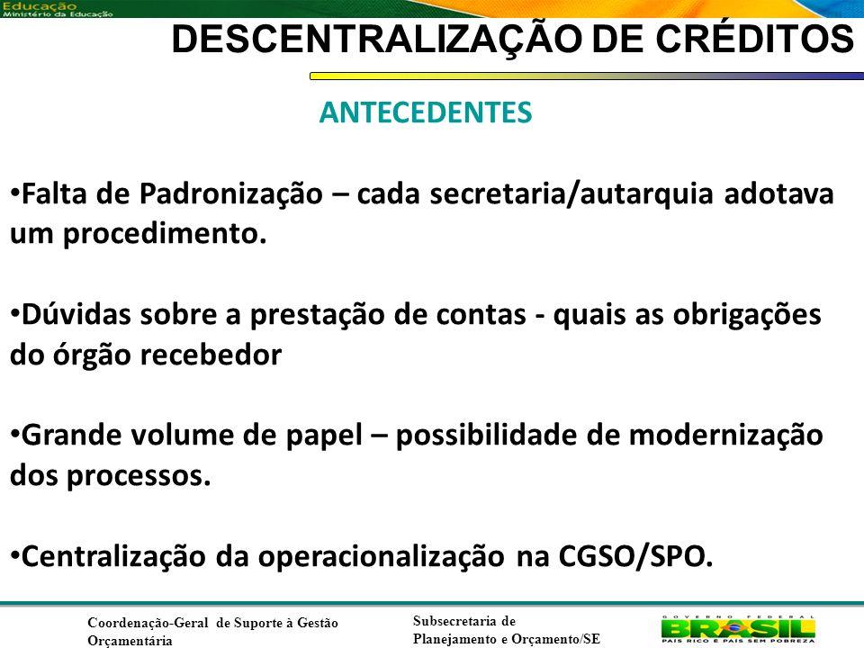 Coordenação de Contabilidade Coordenação-Geral de Finanças Subsecretaria de Planejamento e Orçamento/SE DESCENTRALIZAÇÃO DE CRÉDITOS ANTECEDENTES Falta de Padronização – cada secretaria/autarquia adotava um procedimento.