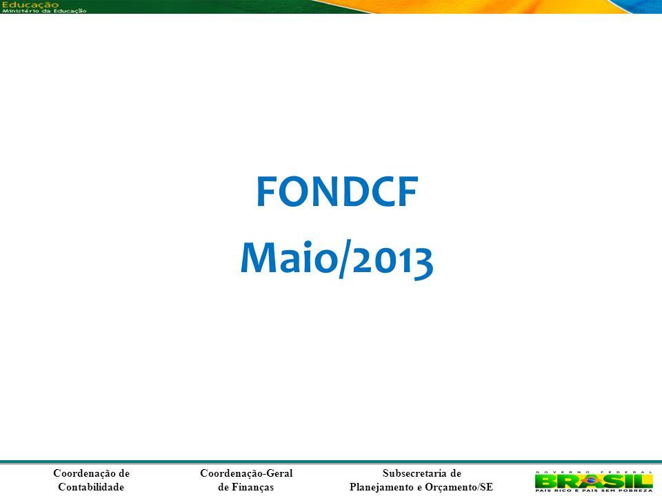 Coordenação de Contabilidade Coordenação-Geral de Finanças Subsecretaria de Planejamento e Orçamento/SE FONDCF Maio/2013