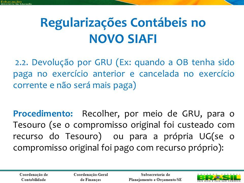 Coordenação de Contabilidade Coordenação-Geral de Finanças Subsecretaria de Planejamento e Orçamento/SE Regularizações Contábeis no NOVO SIAFI 2.2.
