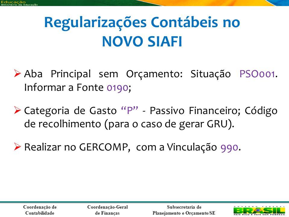Coordenação de Contabilidade Coordenação-Geral de Finanças Subsecretaria de Planejamento e Orçamento/SE Regularizações Contábeis no NOVO SIAFI Aba Principal sem Orçamento: Situação PSO001.