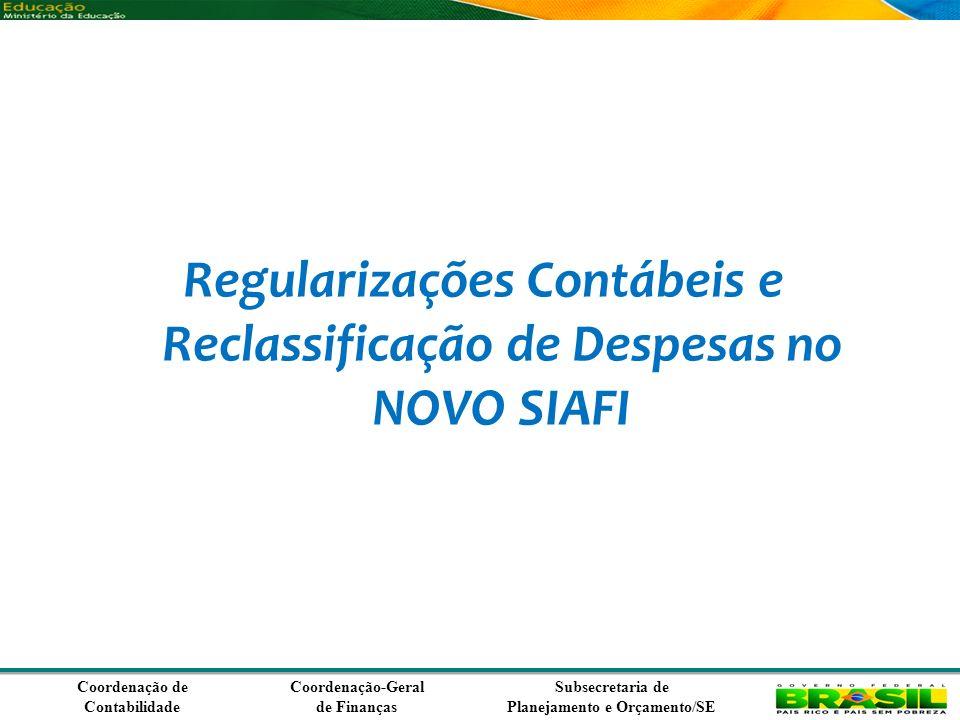 Coordenação de Contabilidade Coordenação-Geral de Finanças Subsecretaria de Planejamento e Orçamento/SE Regularizações Contábeis e Reclassificação de Despesas no NOVO SIAFI