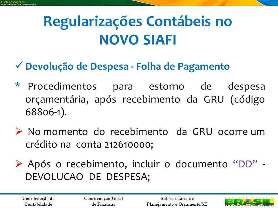 Coordenação de Contabilidade Coordenação-Geral de Finanças Subsecretaria de Planejamento e Orçamento/SE Regularizações Contábeis no NOVO SIAFI Devolução de Despesa - Folha de Pagamento * Procedimentos para estorno de despesa orçamentária, após recebimento da GRU (código 68806-1).