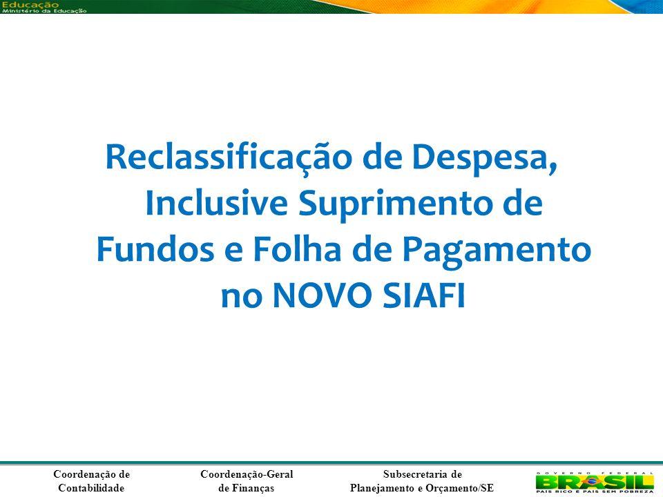 Coordenação de Contabilidade Coordenação-Geral de Finanças Subsecretaria de Planejamento e Orçamento/SE Reclassificação de Despesa, Inclusive Suprimento de Fundos e Folha de Pagamento no NOVO SIAFI