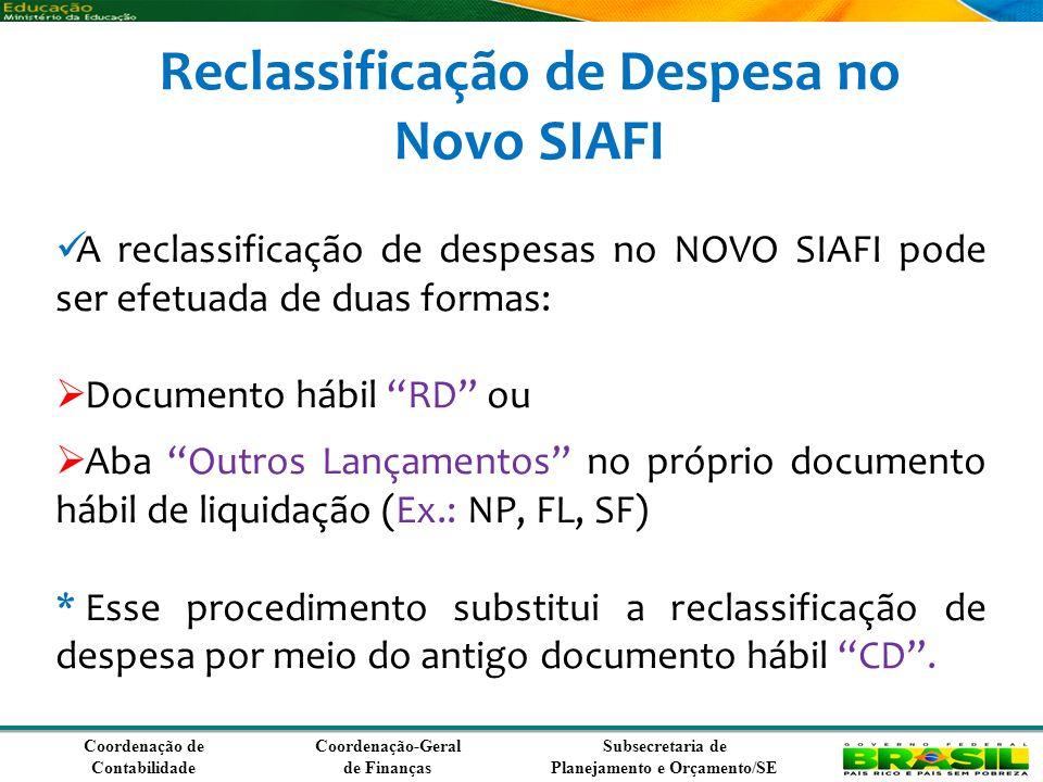 Coordenação de Contabilidade Coordenação-Geral de Finanças Subsecretaria de Planejamento e Orçamento/SE Reclassificação de Despesa no Novo SIAFI A reclassificação de despesas no NOVO SIAFI pode ser efetuada de duas formas: Documento hábil RD ou Aba Outros Lançamentos no próprio documento hábil de liquidação (Ex.: NP, FL, SF) * Esse procedimento substitui a reclassificação de despesa por meio do antigo documento hábil CD.
