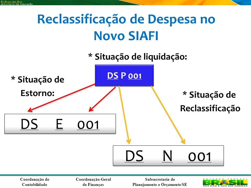Coordenação de Contabilidade Coordenação-Geral de Finanças Subsecretaria de Planejamento e Orçamento/SE * Situação de liquidação: DS E 001 DS P 001 * Situação de Reclassificação DS N 001 * Situação de Estorno: Reclassificação de Despesa no Novo SIAFI