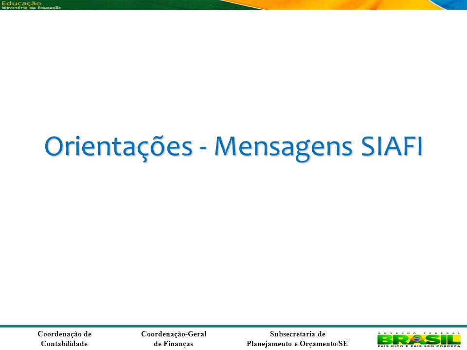 Coordenação de Contabilidade Coordenação-Geral de Finanças Subsecretaria de Planejamento e Orçamento/SE Orientações - Mensagens SIAFI