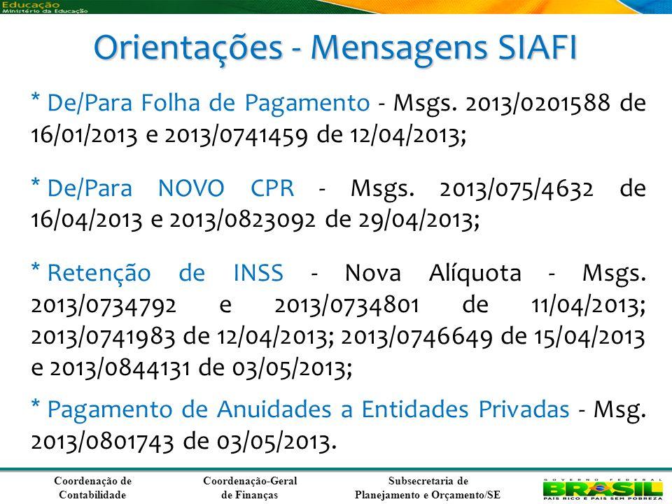 Coordenação de Contabilidade Coordenação-Geral de Finanças Subsecretaria de Planejamento e Orçamento/SE Orientações - Mensagens SIAFI * De/Para Folha de Pagamento - Msgs.