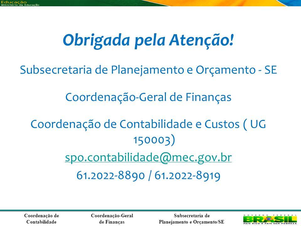 Coordenação de Contabilidade Coordenação-Geral de Finanças Subsecretaria de Planejamento e Orçamento/SE Obrigada pela Atenção.