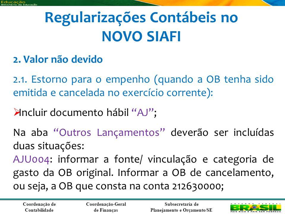Coordenação de Contabilidade Coordenação-Geral de Finanças Subsecretaria de Planejamento e Orçamento/SE Regularizações Contábeis no NOVO SIAFI 2.