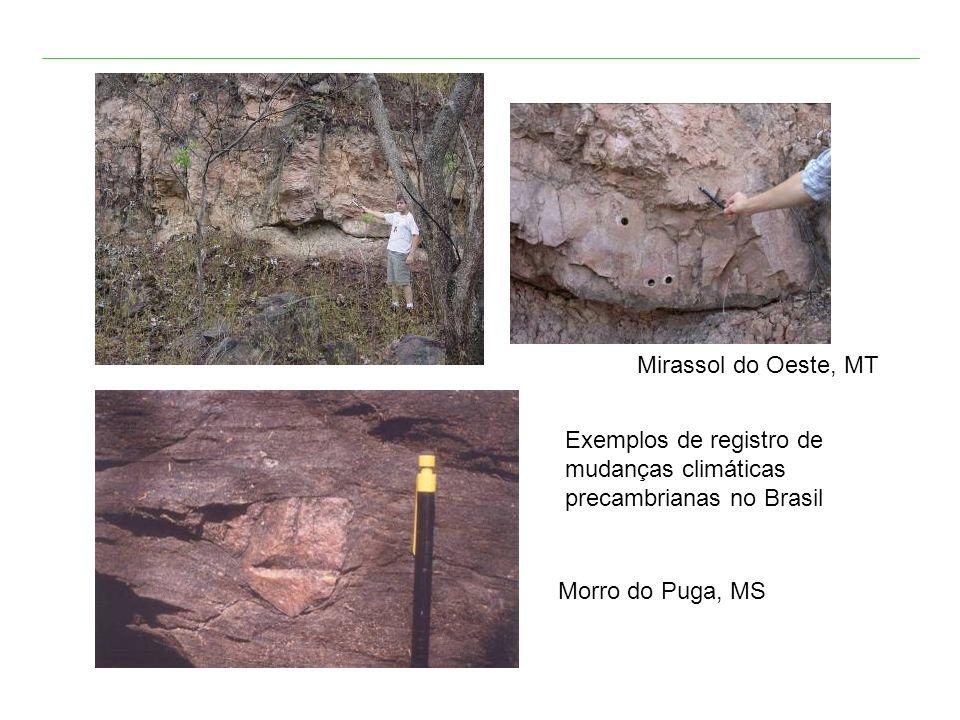 Mirassol do Oeste, MT Morro do Puga, MS Exemplos de registro de mudanças climáticas precambrianas no Brasil