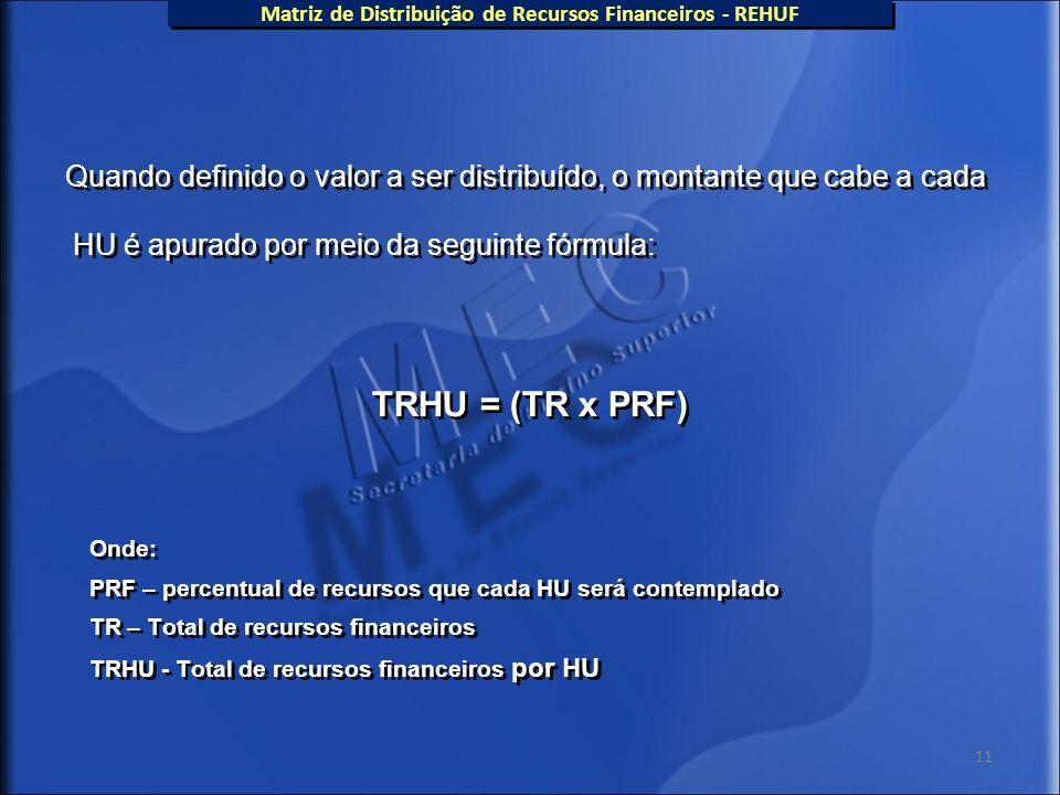 11 Quando definido o valor a ser distribuído, o montante que cabe a cada HU é apurado por meio da seguinte fórmula: TRHU = (TR x PRF) Onde: PRF – perc