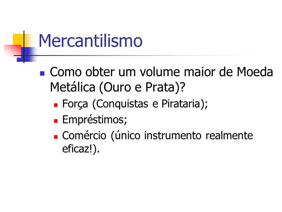 Mercantilismo Como obter um volume maior de Moeda Metálica (Ouro e Prata)? Força (Conquistas e Pirataria); Empréstimos; Comércio (único instrumento re