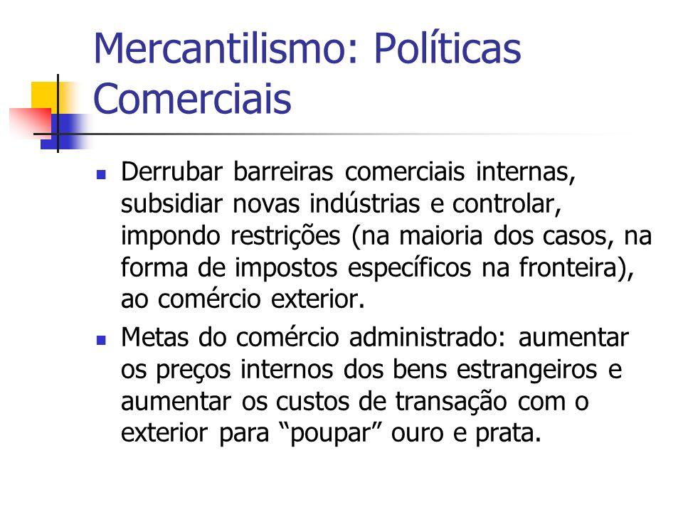 Mercantilismo: Políticas Comerciais Derrubar barreiras comerciais internas, subsidiar novas indústrias e controlar, impondo restrições (na maioria dos