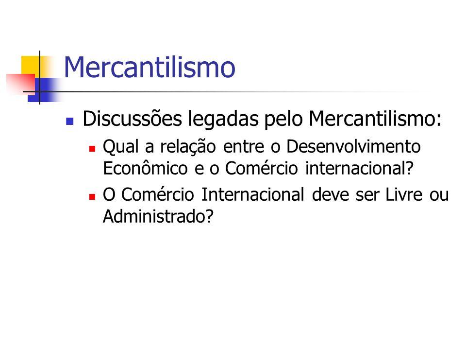 Mercantilismo Discussões legadas pelo Mercantilismo: Qual a relação entre o Desenvolvimento Econômico e o Comércio internacional? O Comércio Internaci