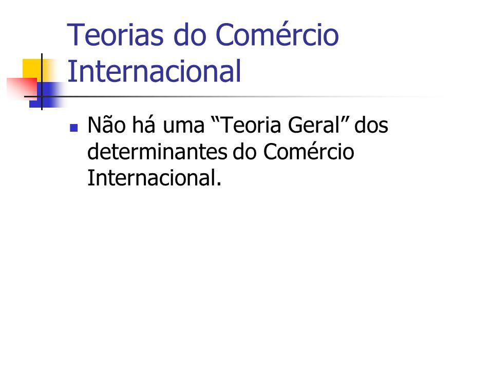 Teorias do Comércio Internacional Não há uma Teoria Geral dos determinantes do Comércio Internacional.