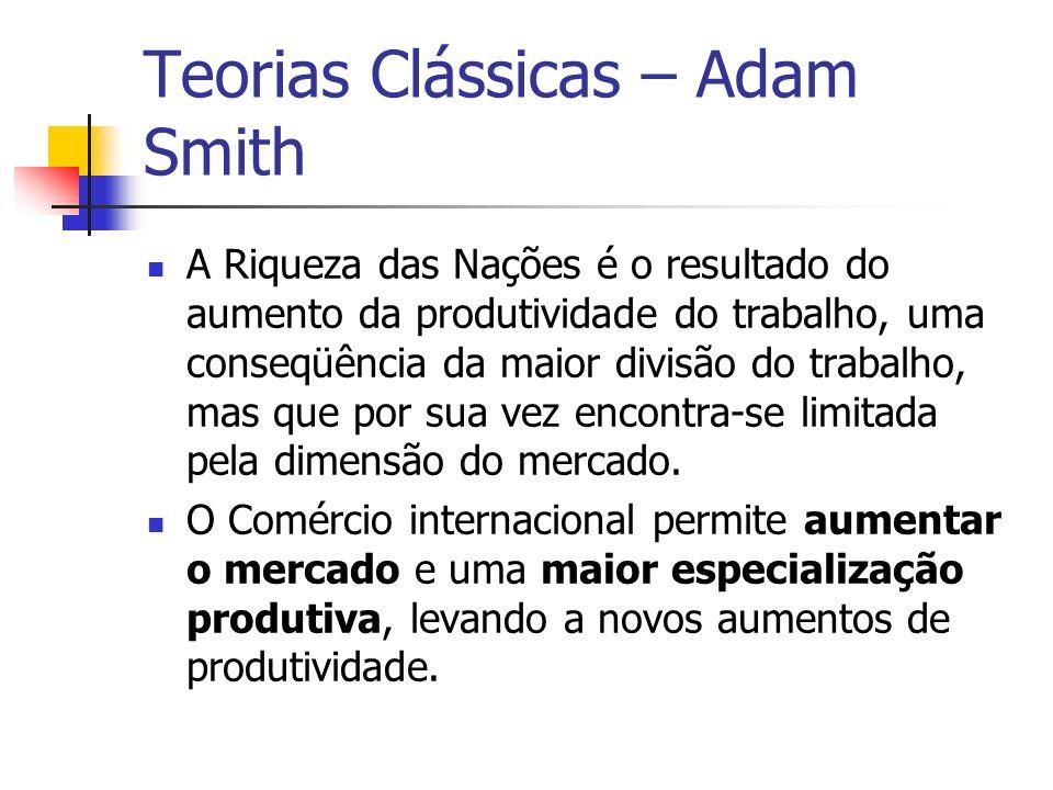 Teorias Clássicas – Adam Smith A Riqueza das Nações é o resultado do aumento da produtividade do trabalho, uma conseqüência da maior divisão do trabal