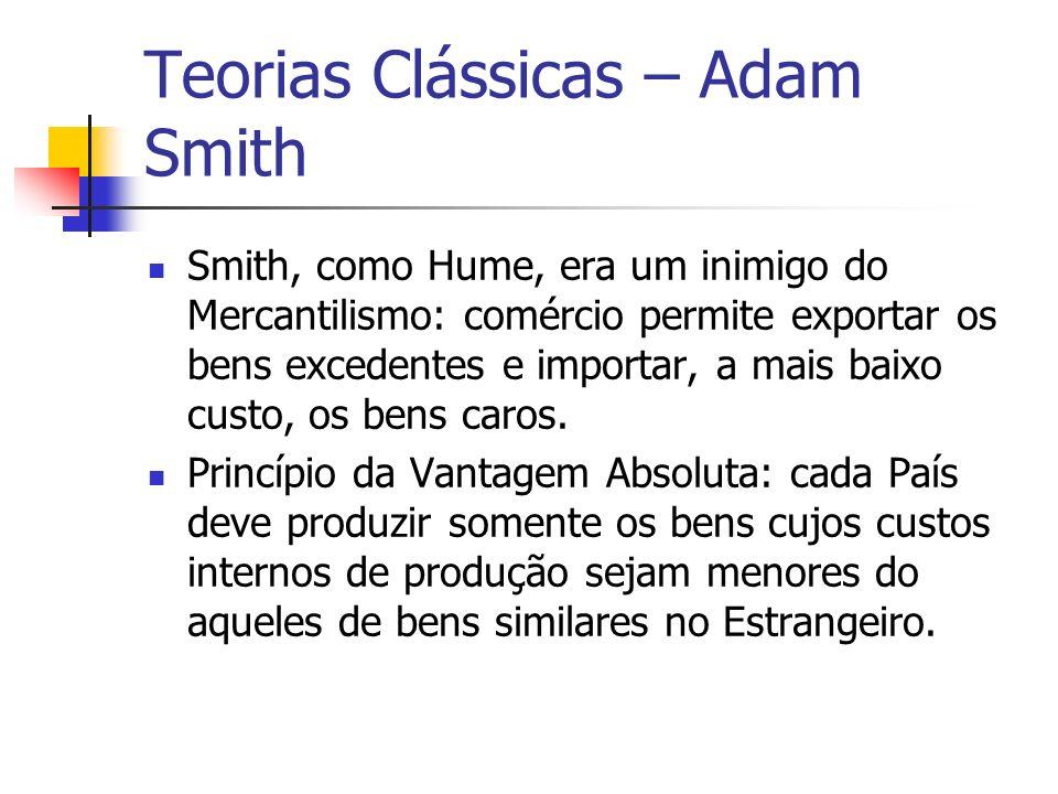 Teorias Clássicas – Adam Smith Smith, como Hume, era um inimigo do Mercantilismo: comércio permite exportar os bens excedentes e importar, a mais baix