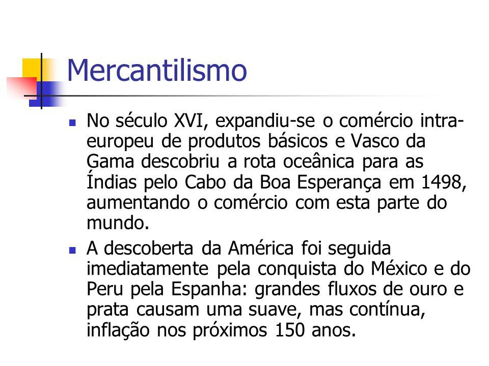 Mercantilismo No século XVI, expandiu-se o comércio intra- europeu de produtos básicos e Vasco da Gama descobriu a rota oceânica para as Índias pelo C