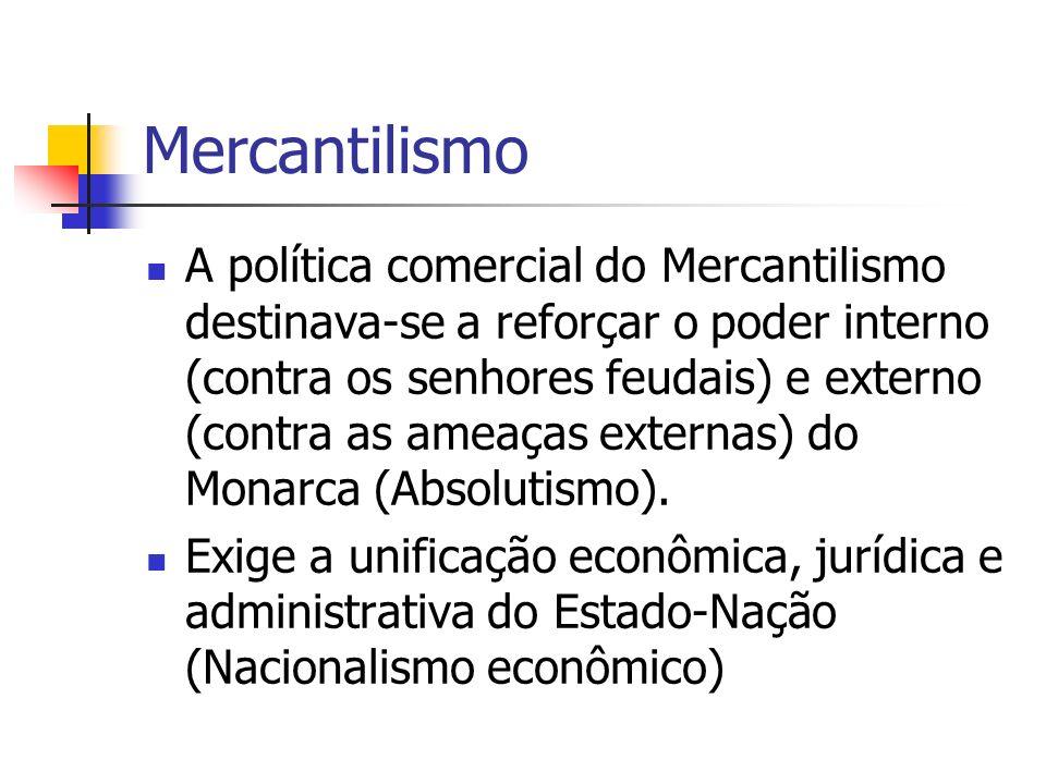 Mercantilismo A política comercial do Mercantilismo destinava-se a reforçar o poder interno (contra os senhores feudais) e externo (contra as ameaças