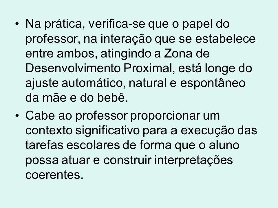 Na prática, verifica-se que o papel do professor, na interação que se estabelece entre ambos, atingindo a Zona de Desenvolvimento Proximal, está longe