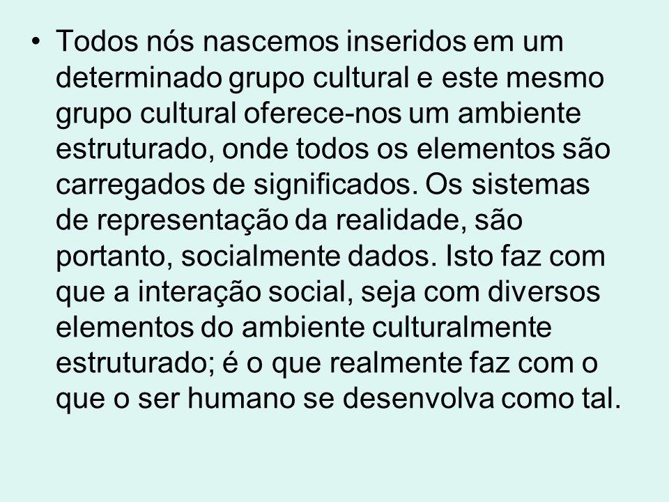 Todos nós nascemos inseridos em um determinado grupo cultural e este mesmo grupo cultural oferece-nos um ambiente estruturado, onde todos os elementos