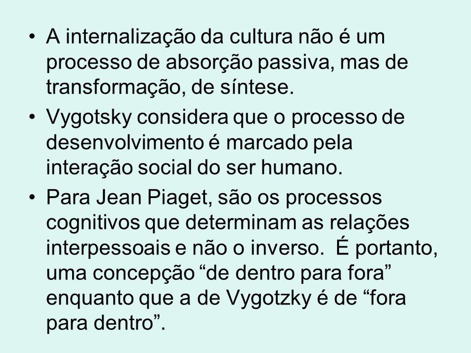 A internalização da cultura não é um processo de absorção passiva, mas de transformação, de síntese. Vygotsky considera que o processo de desenvolvime