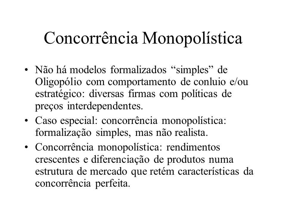 Concorrência Monopolística Há muitas firmas na indústria - cada firma é considerada apta a diferenciar seu produto do produtos de suas rivais.